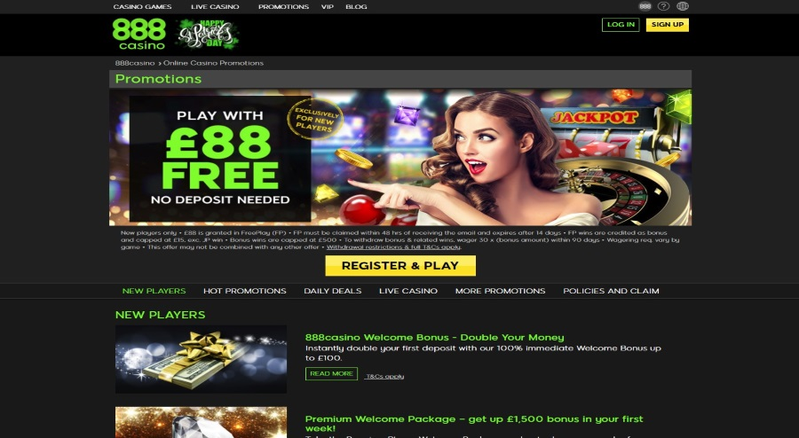 Attractive and Generous Bonuses and Promotions at 888 Casino